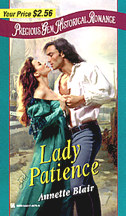 Cover: Lady Patience, by Annette Blaire, a June 1999 release from Precious Gems Historicals!